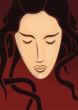 Young woman head with long hair on dark red background Stock Vector - 3654290