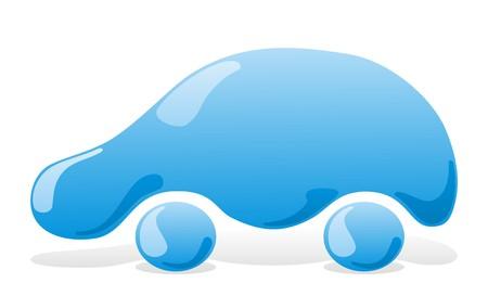autolavado: Lavado de coches icono azul con l�quido veh�culo