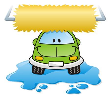 Cartoon car washing with roller brush and water splash