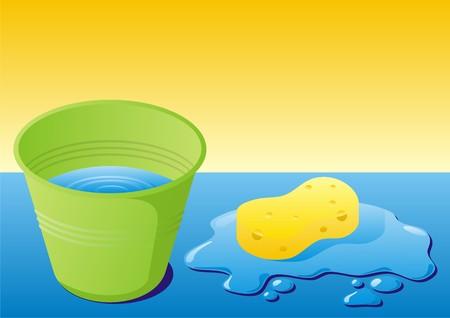 Verde cubo con agua y esponja con agua salpicadura Ilustración de vector