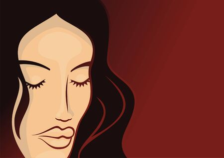 Young woman head with long hair on dark red background Stock Vector - 3654287