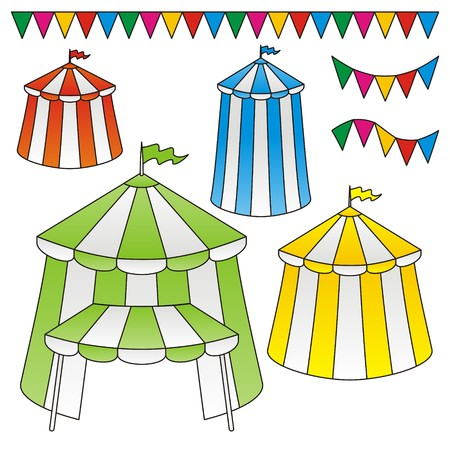 Variation of circus tents with festive triangle flags Illustration