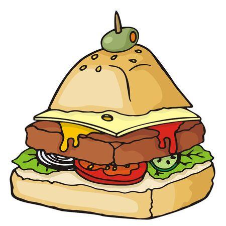Pyramid shaped burger illustration Stock Vector - 4010048