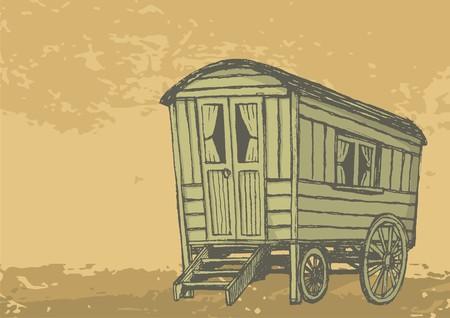 carriages: Sketch of gypsy caravan wagon colored in sepia tones