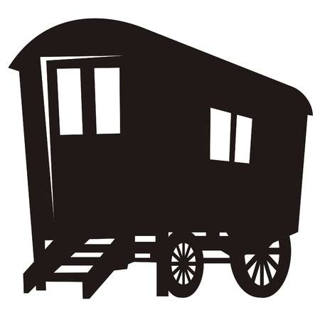 carriages: Vector silhouette of gypsy caravan wagon
