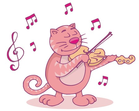 Cat playing the violin funny cartoon illustration