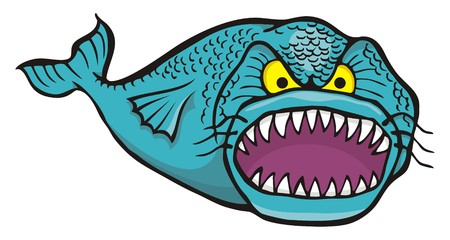 big mouth: Cartoon of big angry fish isolated on white