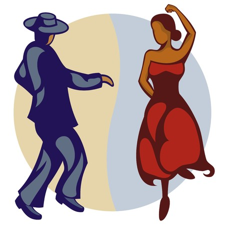 donna spagnola: Illustrazione di una coppia di ballerini di flamenco