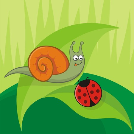Cartoon snail with ladybug sitting on leaves Stock Vector - 4473668