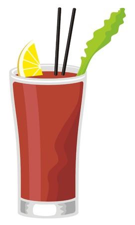 maria: Bloody Mary Cocktail in Highball Glas mit Sellerie und Zitronenscheibe Illustration