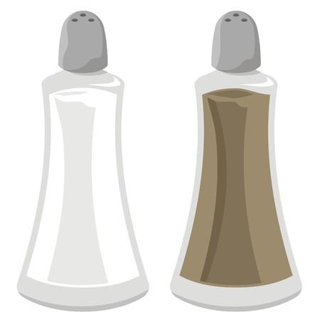 salt: Salt and pepper shakers illustration isolated on white background Illustration