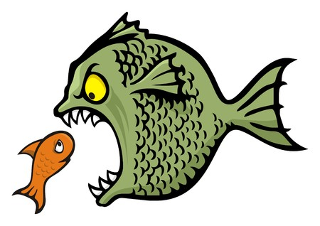 bully: Angry fish bullying a little one cartoon illustration Illustration