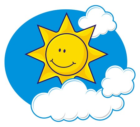 Cartoon of a smiling sun with fluffy clouds Illustration