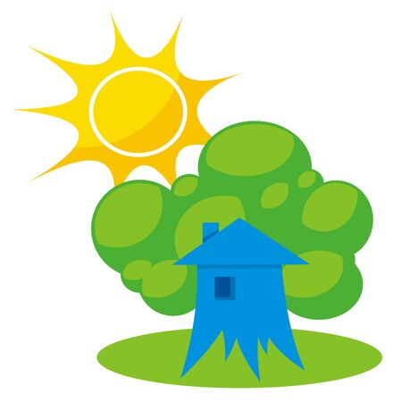 greener: Greener home icon with tree like building and sun Illustration