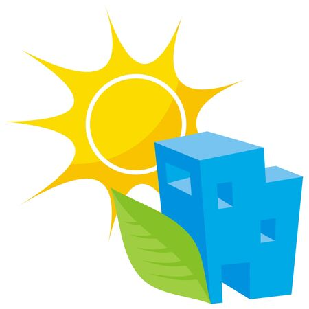 greener: Greener home icon with blue building leaf and sun Illustration