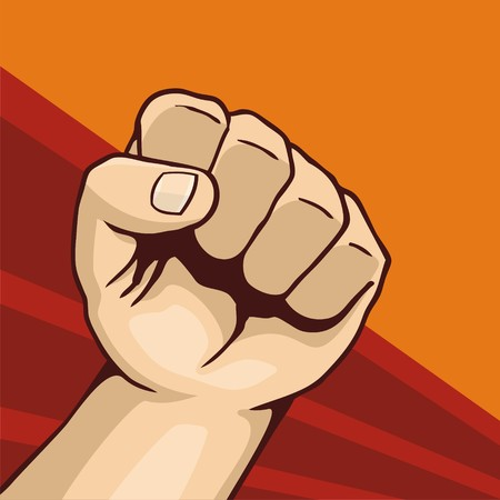 la union hace la fuerza: Ilustraci�n de la l�nea de pu�o de arte en fondo rojo y naranja oscuro