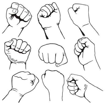 Set of nine fist icons black line-art on white background Illustration