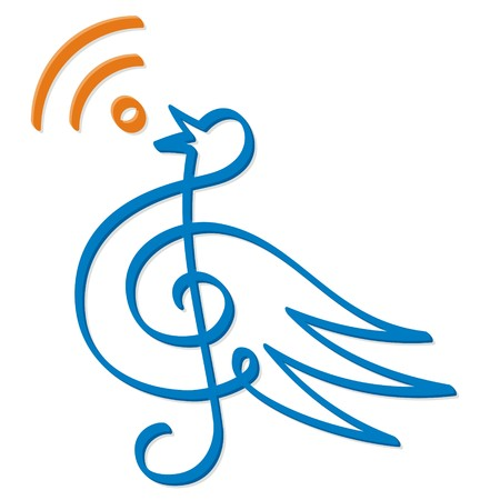 Treble clef bird line-art with RSS feed icon