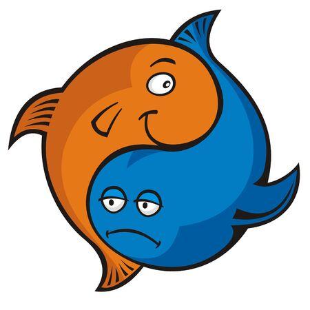 peces caricatura: Yin yang o Piscis s�mbolo de pescado de dibujos animados azul y naranja Vectores