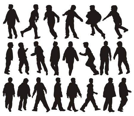 silhouettes of Boys in action