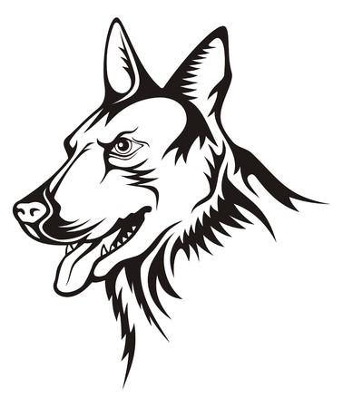 Tattoo illustration of german shepherd guard dog Illustration