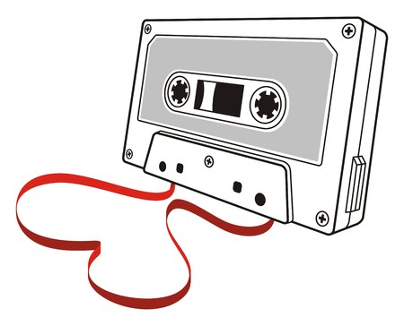 tape line: Line art of audio cassette with loose tape shaping a heart