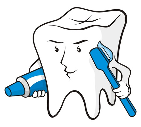 tooth cartoon: Tooth cartoon smiling with toothbrush and toothpaste