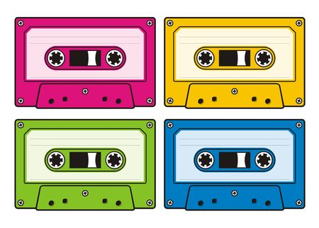 Audio cassette icon in four coloured versions