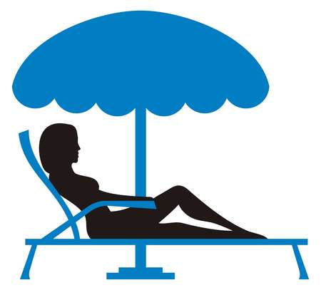 sunbath: Silhouet van een jonge vrouw ontspannen op lounnge stoel met parasol