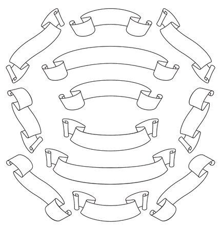 blanc: Conjunto de desplazamiento de blanc pancartas elementos de dise�o de texto o decoraci�n