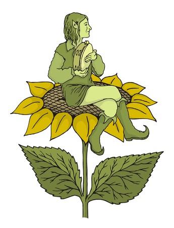 tambourine: Elf sitting on a sunflower playing tambourine