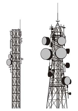 silhouetten van twee communicatie torens op wit wordt geïsoleerd.  Vector Illustratie