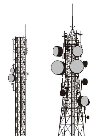 antennas: silhouettes of two communication towers isolated on white.