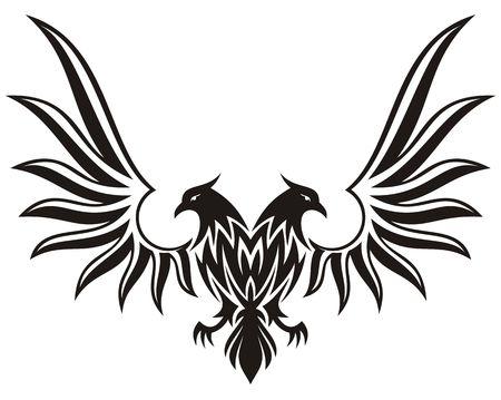 sosie: Silhouette de double aigle bic�phale, isol� sur fond blanc