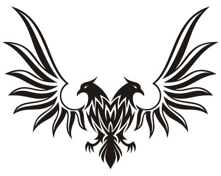 double headed: Silhouette of double headed eagle isolated on white