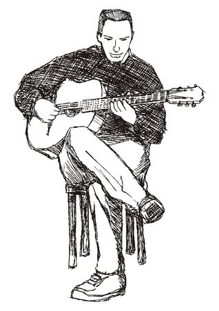 Rough sketch of young acoustic guitar performer Stock Vector - 6901308