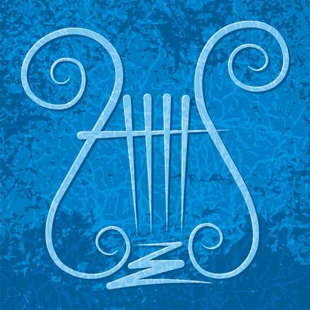 Lyre with four strings on blue grunge background Vector