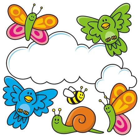 caricaturas de animales: Una escena de primavera con dibujos de animales de beb�, mariposas, aves, abejas y un caracol.