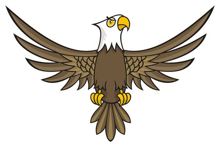 open the wings: Funny looking eagle cartoon with open wings