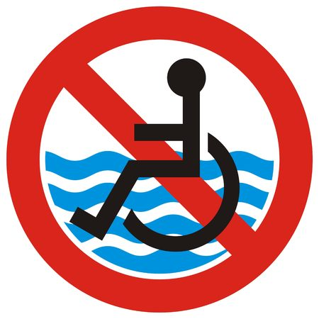 inaccessible: Beach is not accessible to the disabled people symbol