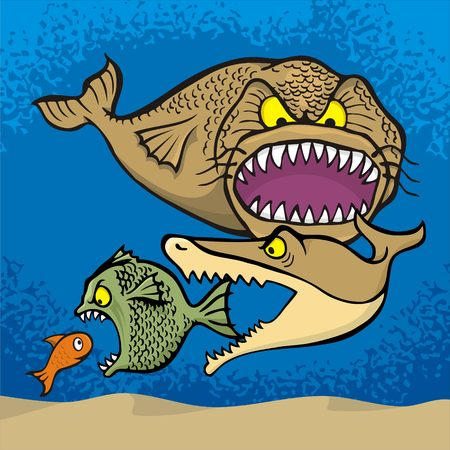 eats: Big fish eats small cartoon illustration. Illustration
