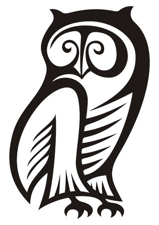 Black and white owl symbol of wisdom and wealth. Illustration
