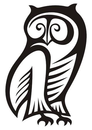 Zwart-wit owl symbool van wijsheid en rijkdom. Vector Illustratie