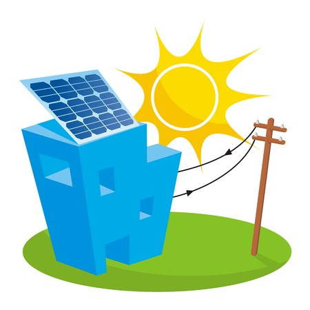 solar house: Solar panel on house roof connected to electricity pole Illustration