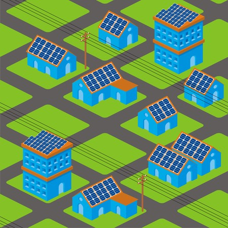 solar house: Isometric cityscape seamless pattern with solar panels on roofs and electricity poles