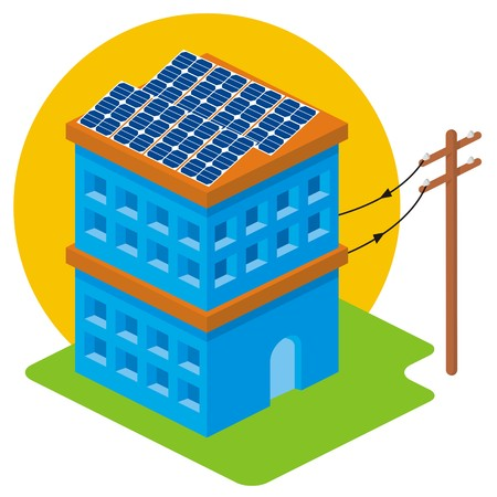 electricity pole: Isometric house with solar panels on roof connected to electricity pole