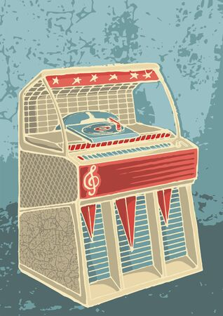 jukebox: Sketch of retro jukebox on grunge background
