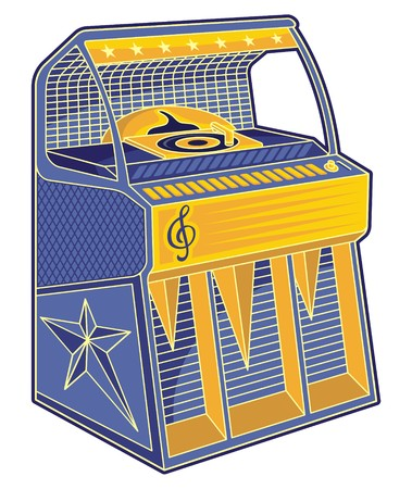 Line art of blue and orange retro jukebox