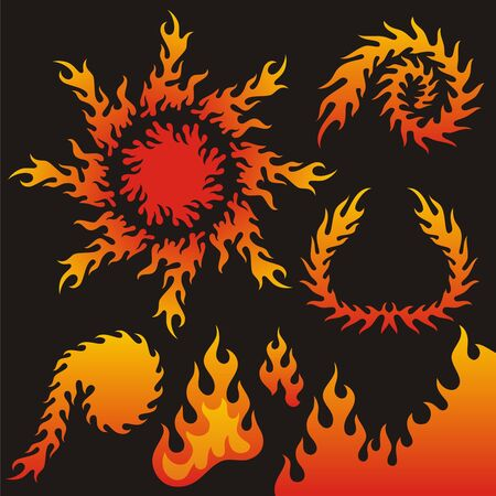A collection of vector flame elements. Stock Vector - 9360652