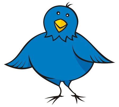 Caricature de blue bird peu regardant vous.